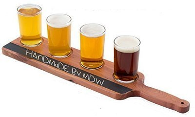 Handmade Deluxe Professional Beer Flight with Chalkboard, 5-Piece