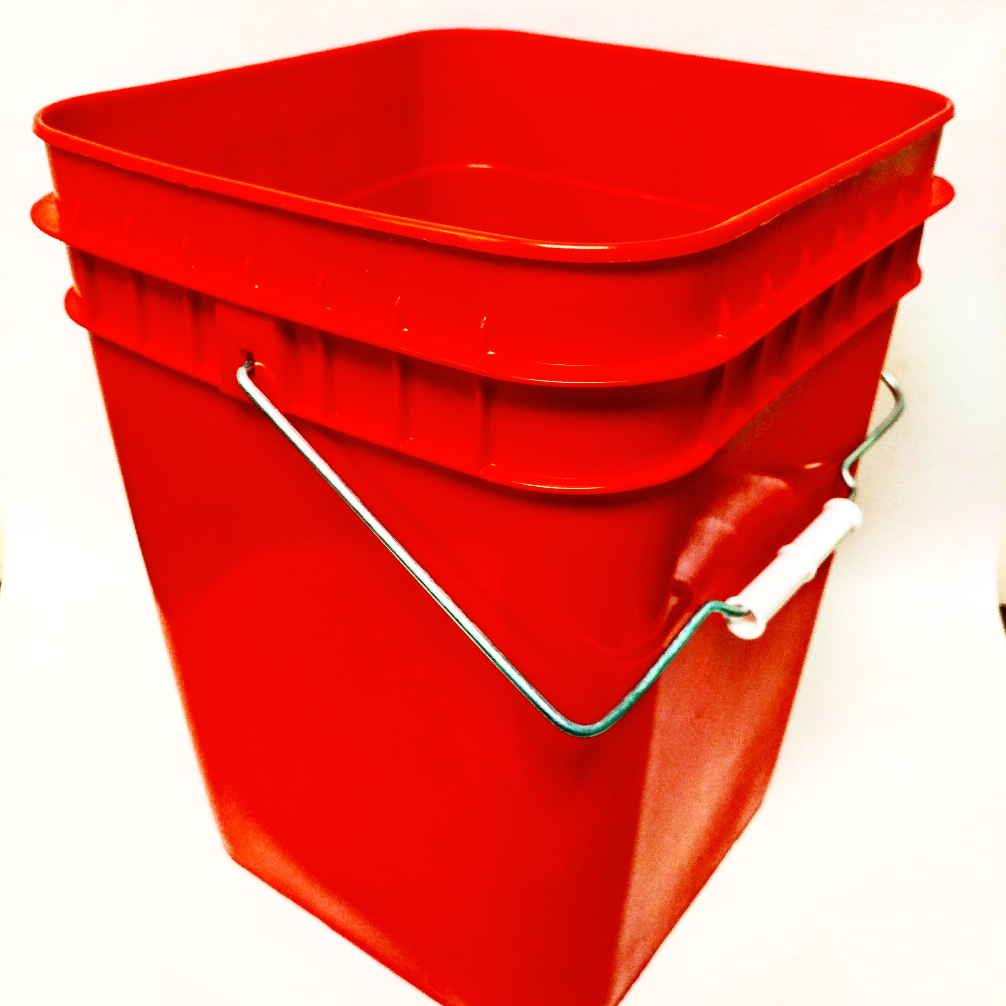 Pail, Open Head, Square, 4 gal, PE, Red