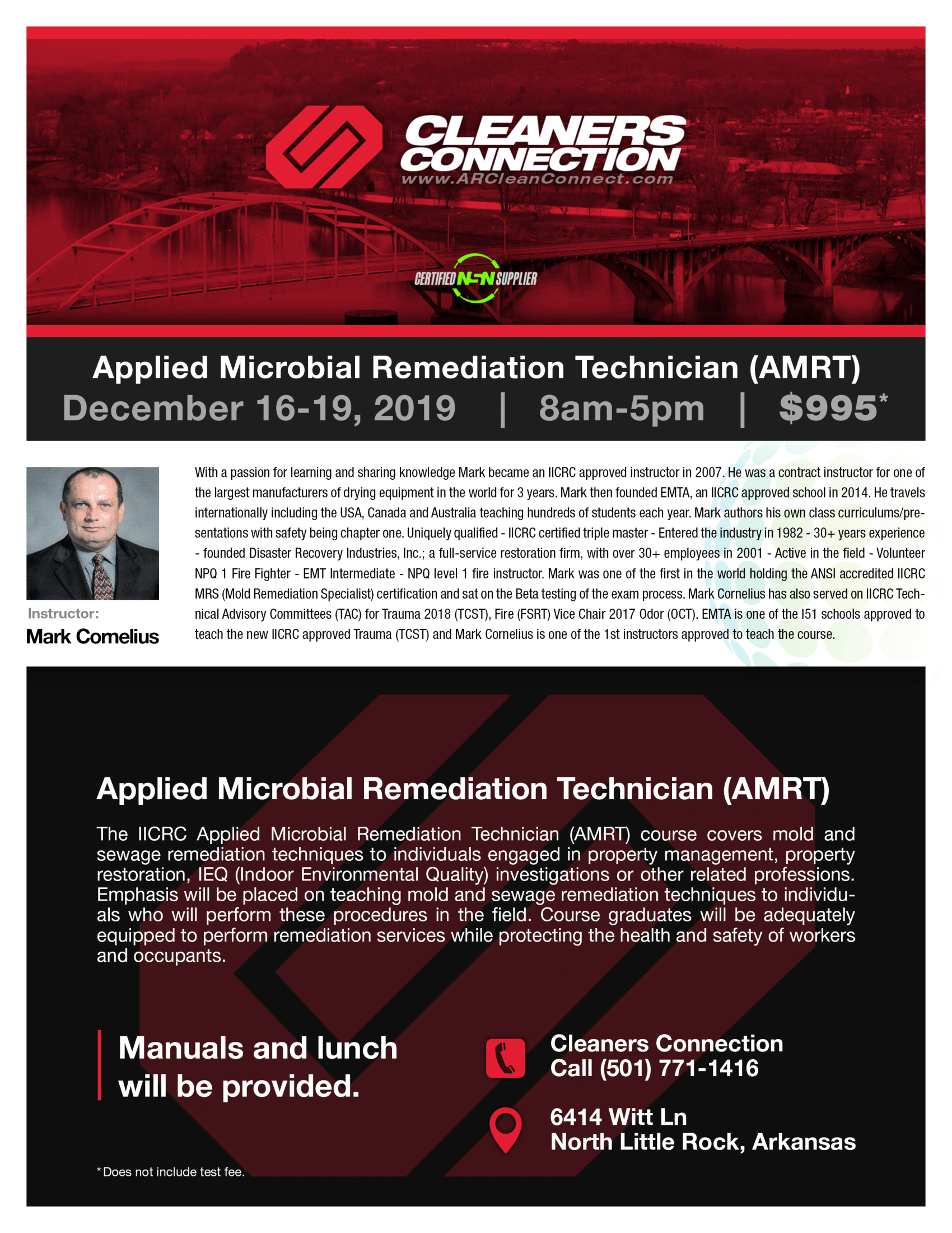 Applied Microbial Remediation Technician (AMRT) Course 12/16/19 to 12/19/19 SOLD OUT SCHOOL-AMRT