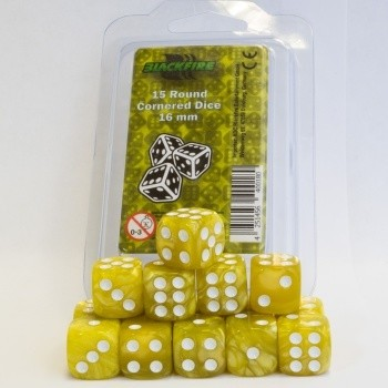 16mm D6 Dice Set - Marbled Yellow (15 Dice)