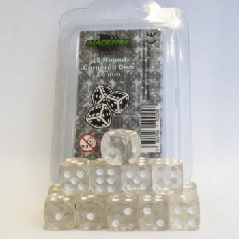 16mm D6 Dice Set - Transparent White (15 Dice)