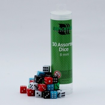 8mm Assorted D6 Dice (30 Dice) - Blackf