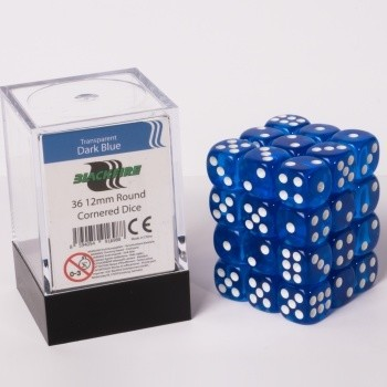 Dice Cube - 12mm D6 36 Dice Set -  Transparent Dark Blue