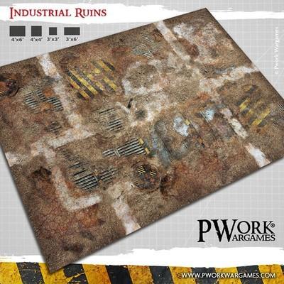 Industrial Ruins - Wargames Terrain Mat PVC Vinyl - 22x33