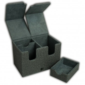 Deck Box Dual 160+ Standard Size Cards (with Dice Tray) - Grey