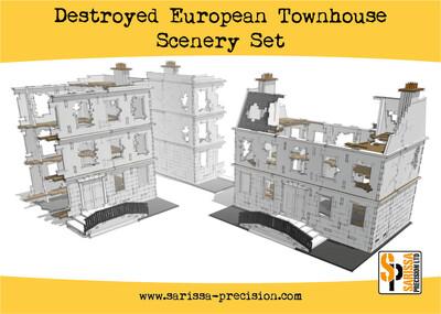 Destroyed European Townhouse Scenery Set - Sarissa