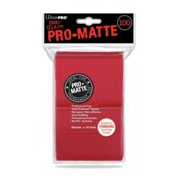 UP - Standard Deck Protector - PRO-Matte Red (100 Sleeves)
