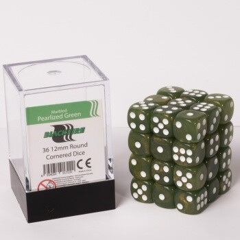 Dice Cube - 12mm D6 36 Dice Set - Marbled Pearlized Green