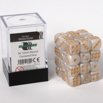 Dice Cube - 12mm D6 36 Dice Set - Marbled White Gold