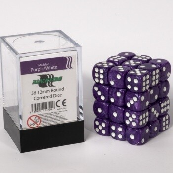 Dice Cube - 12mm D6 36 Dice Set - Marbled Purple/White
