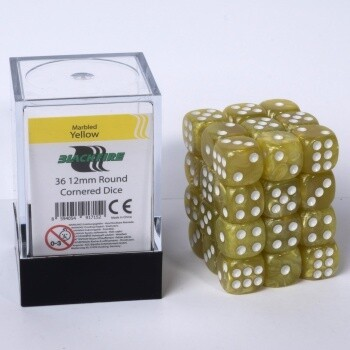 Dice Cube - 12mm D6 36 Dice Set - Marbled Yellow