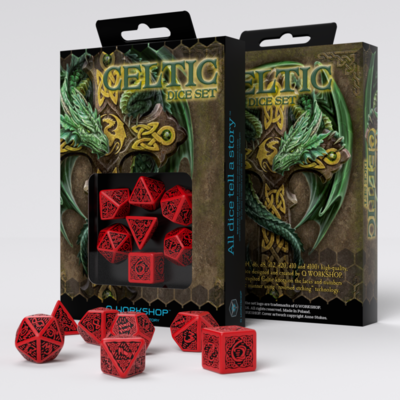 Celtic 3D Revised Red & black Dice Set (7) - Q-Workshop