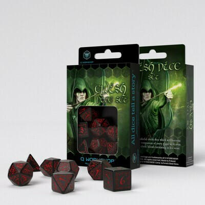 Elvish Black & red Dice Set (7) - Q-Workshop
