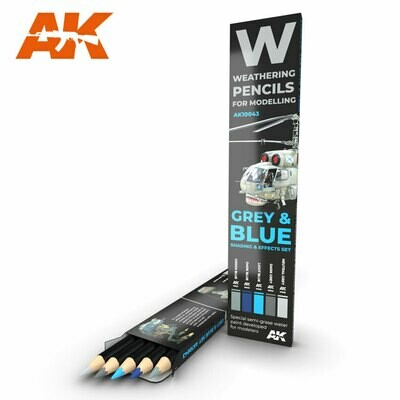 Watercolor Pencil Set Grey and Blue Camouflages - AK Interactive