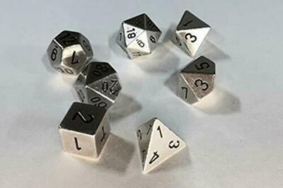 Solid Metal Silver Color Polyhedral 7-Die Set - Metallwürfel