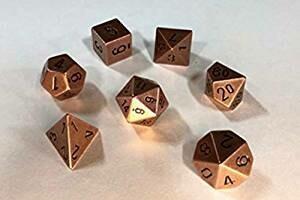 Solid Metal Copper Color Polyhedral 7-Die Set - Metallwürfel