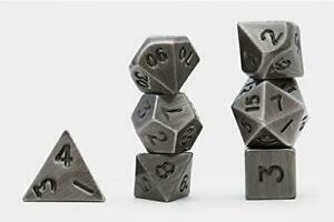 Solid Metal Dark Metal Color Polyhedral 7-Die Set - Metallwürfel