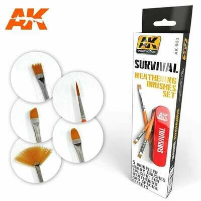 SURVIVAL WEATHERING BRUSHES SET - AK Interactive
