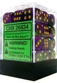 Green-Purple/gold 12mm D6 Dice Block™ (36) - Chessex