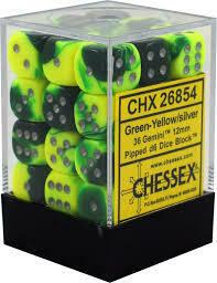 Green-Yellow/silver Gemini 12mm D6 Dice Block™ (36) - Chessex