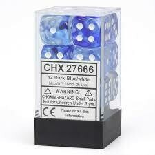 Dark Blue/white Dice Block (12) Nebula - Chessex
