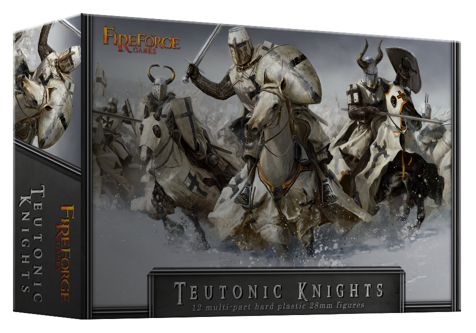 Teutonic Knights Cavalry (12 mounted plastic figures) - Deus Vult - Fireforge Games FFG001