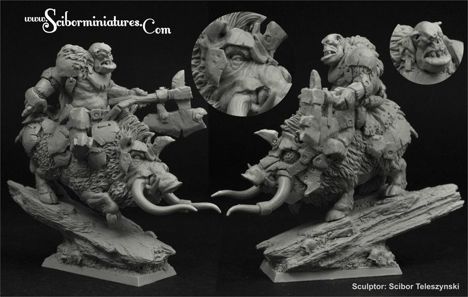Orc Chief on War Boar - Scibor Miniatures 09000128FM0191