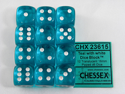 Türkis/Weiss - Translucent 16mm D6 Dice Block™ (12) - Chessex