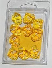 Gelb/Weiss - Translucent Set of Ten D10's (10) - Chessex
