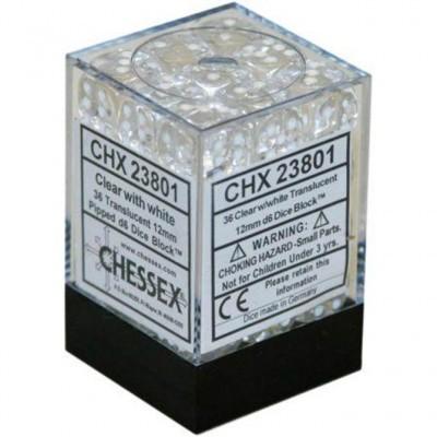 Klar/Weiss - Translucent 12mm D6 Dice Block™ (36) - Chessex