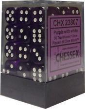 Violett/Weiss - Translucent 12mm D6 Dice Block™ (36) - Chessex