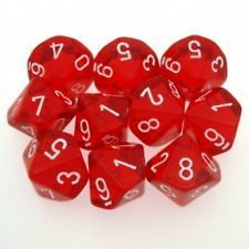 Rot/Weiss - Translucent Set of Ten D10's (10) - Chessex