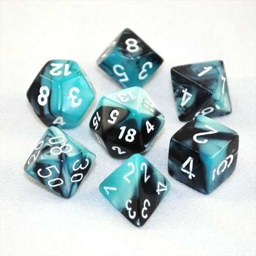 Gemini™ Black-Shell w/white Dice Set - 7-Die Set (7) - Chessex CHX26446