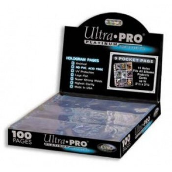 UP  Ultra Pro - Platinum 9-Pocket Pages (11 Hole) Display (100 Pages) 074427834234