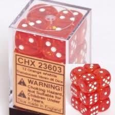 Orange/Weiss - Translucent 16mm D6 Dice Block™ (12) - Chessex CHX23603
