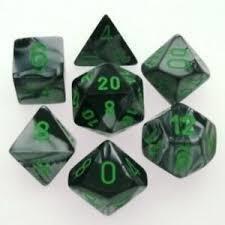 Schwarz-Grau-Grün - Opaque Polyhedral 7-Die Set (7) - Chessex CHX26445