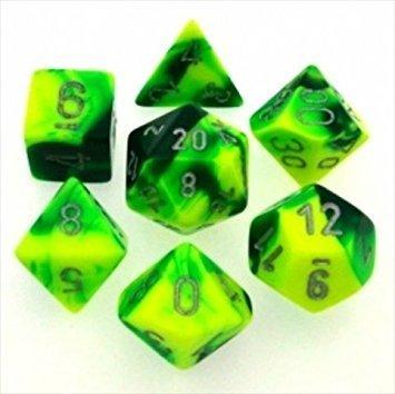 Gemini™ Green-Yellow w/silver Dice Set - 7-Die Set (7) - Chessex CHX26454
