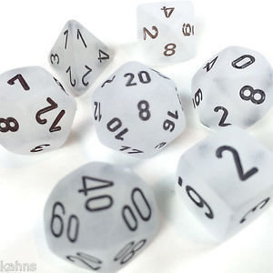 Frosted Clear-Black Dice Set - 7-Die Set (7) - Chessex