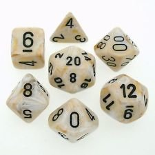 Marble Clear-Black Dice Set - 7-Die Set (7) - Chessex CHX27402