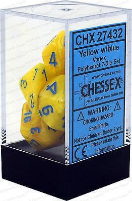 Vortex Dice Yellow/Blue - 7-Die Set (7) - Chessex CHX27432