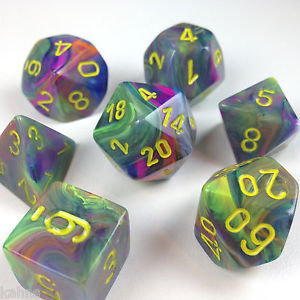 Festive Rio w/yellow - 7-Die Set (7) - Chessex CHX27449