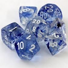 Nebula Polyhedral Dark Blue/white - 7-Die Set (7) - Chessex CHX27466