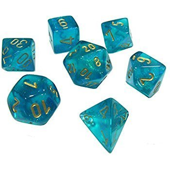 Borealis #2 Teal/gold - 7-Die Set (7) - Chessex CHX27486