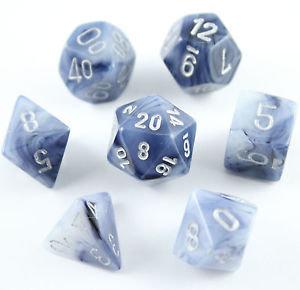 Phantom Polyhedral Black/silver - 7-Die Set (7) - Chessex CHX27488