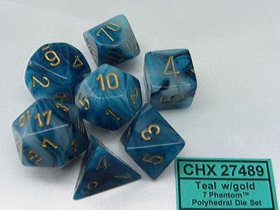 Phantom Polyhedral Teal/gold - 7-Die Set (7) - Chessex