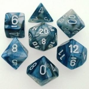 Lustrous Polyhedral Slate/white - 7-Die Set (7) - Chessex CHX27490