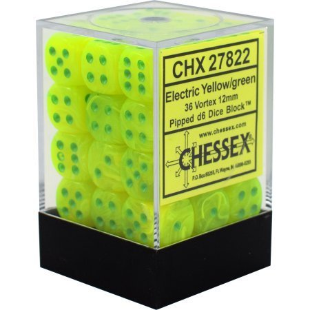 Vortex Electric Yellow w/green - 12mm (36) - Chessex CHX27822
