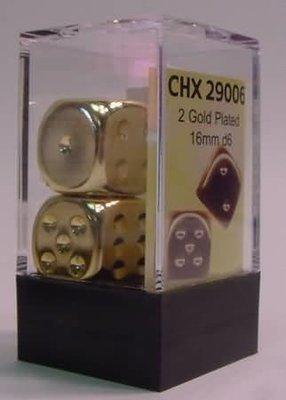 Gold Metallic 16mm d6 Pair - (2) - Chessex