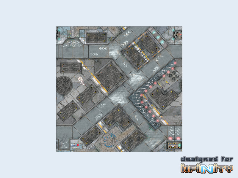 War Game Mat - 48x48inch - District 5 Infinity - Spielmatte - Micro Art Studio