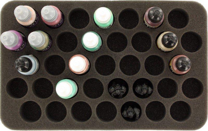 35 mm Half-Size Schaumstoff mit angeklebtem Boden - 37 runde Fächer für Farbtöpfchen  - Feldherr